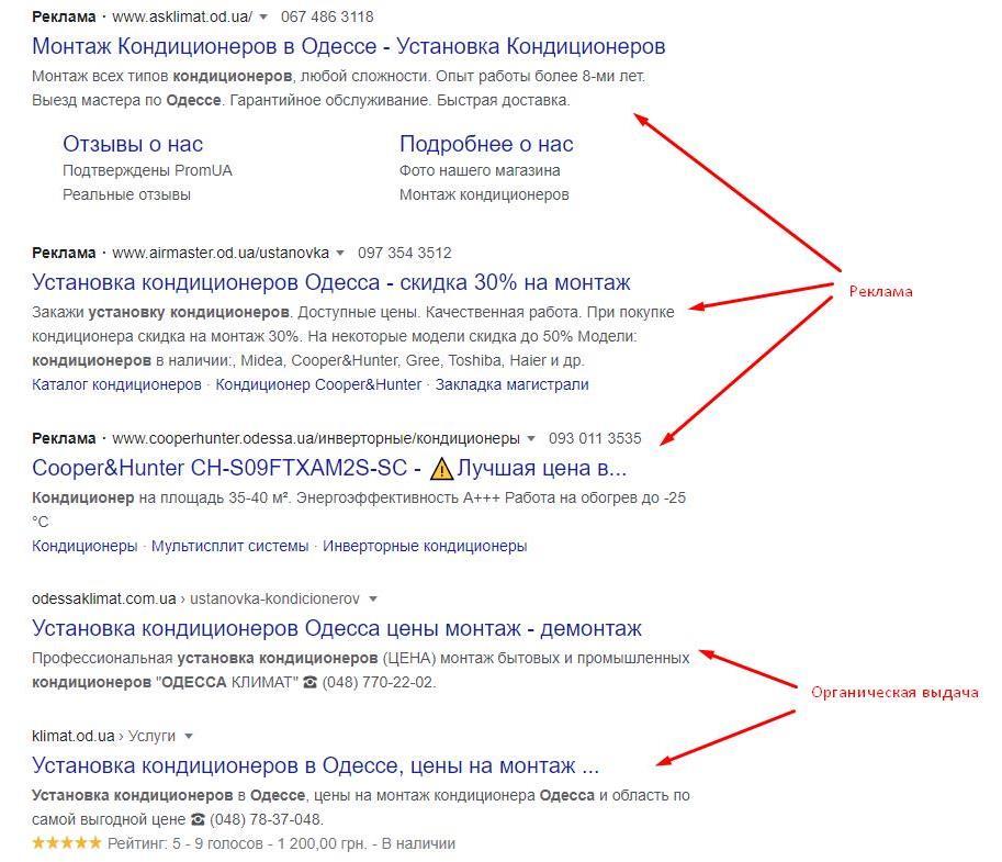 типы результатов поиска на serp