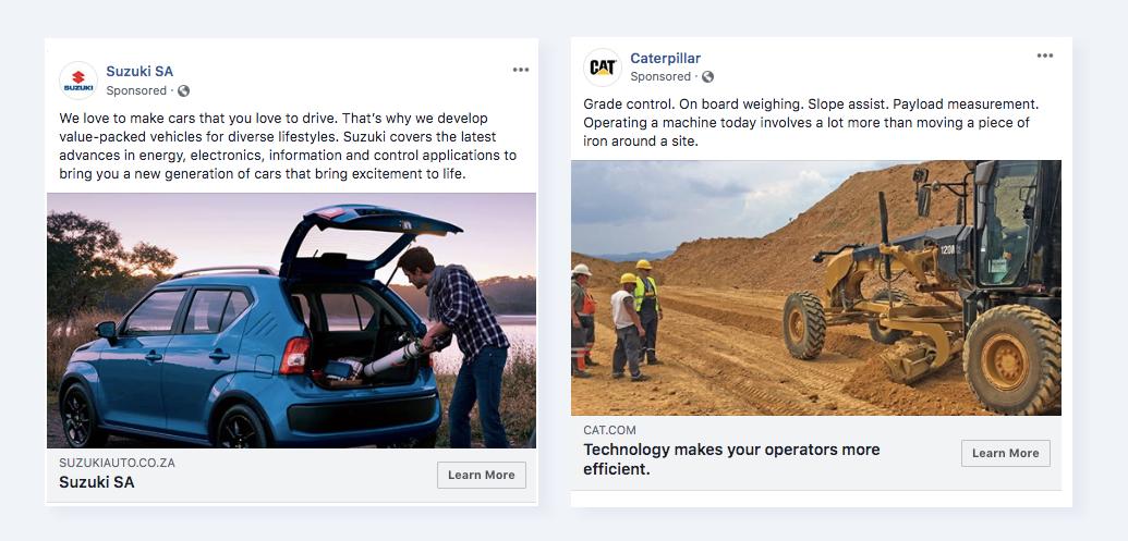 Примеры того, как выглядит реклама в Фейсбуке