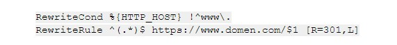 вариант с домена без www на домен с www