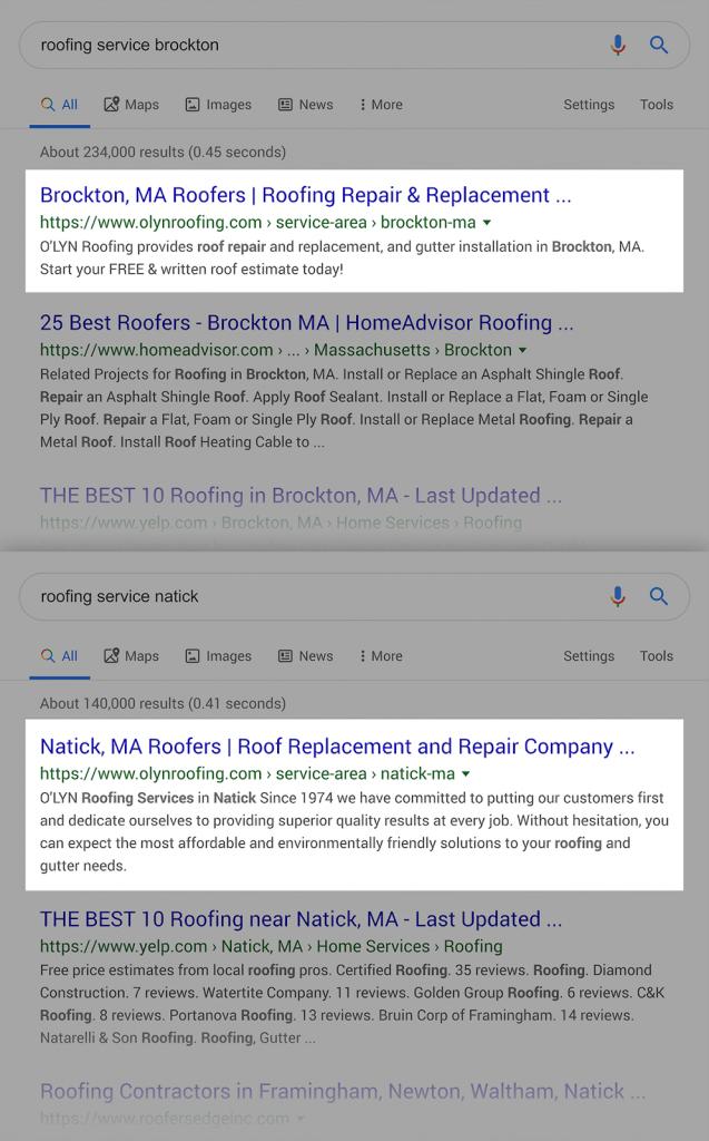 Страницы ранжируются в местных поисковых системах