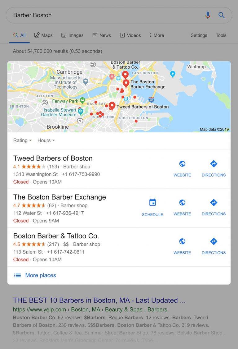 Результаты выдачи по запросу - Barber Boston