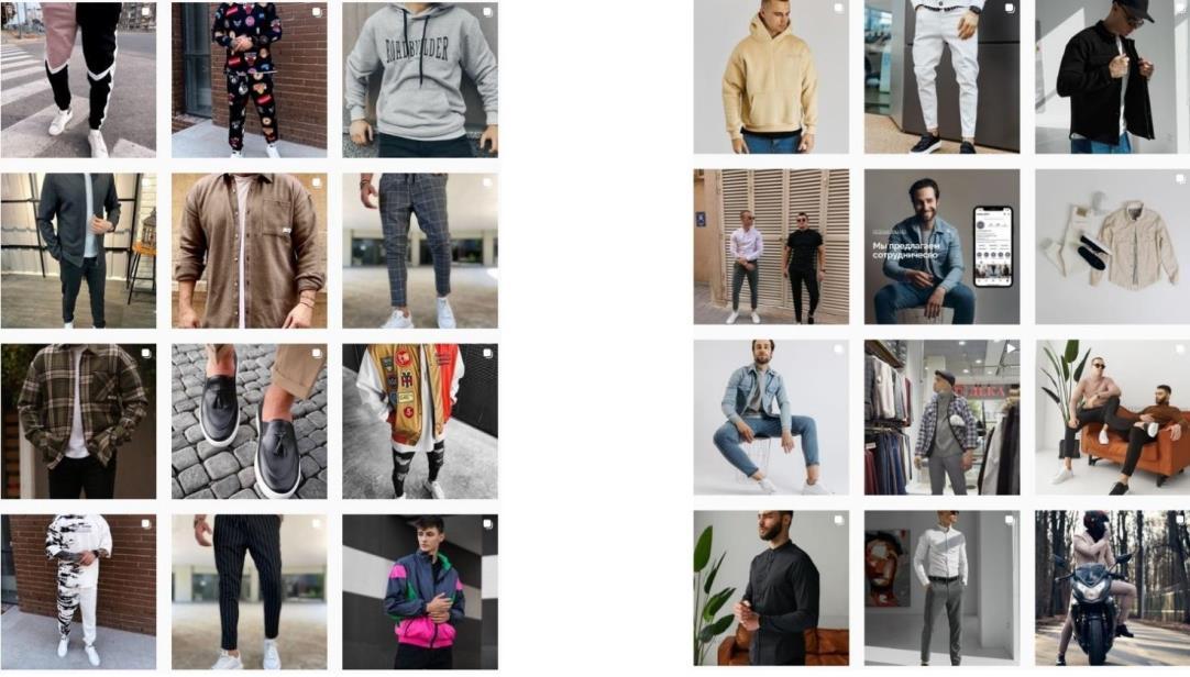 Примеры ведения профиля по продаже мужской одежды