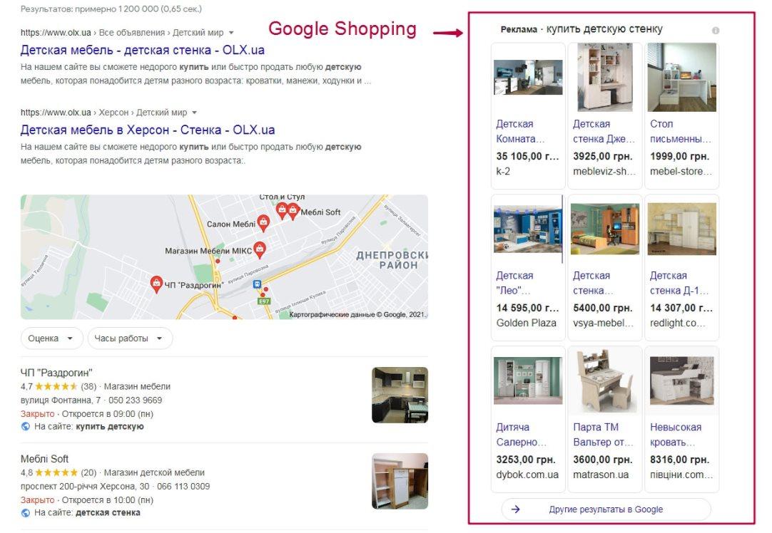 Пример блока Google Shopping
