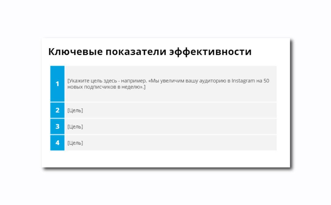 Таблица по KPI целей